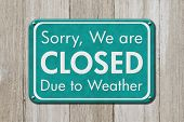Closed Due To Weather Sign, A Teal Sign With Text Sorry We Are Closed Due To Weather On Weathered Wo poster