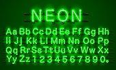 Neon Font City. Neon Green Font Eps. Lamp Green Font. Alphabet Font. Vector Illustration poster