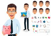 Business Man In Office Style Clothes. Businessman Cartoon Character Creation Set, Pack Of Body Parts poster