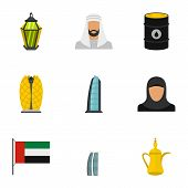 Culture Features Of Uae Icons Set. Flat Illustration Of 9 Culture Features Of Uae Icons For Web poster