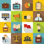 Election Voting Icons Set. Flat Illustration Of 16 Election Voting Icons For Web poster