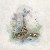 Eiffel Tower in Paris, France in watercolor painting. Worlds most famous cities and tourist spots. poster