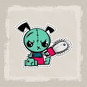 Halloween Stitch Puppy Zombie Voodoo Doll. Evil Dog Sewing Monster. Cute Colored Vector Halftone Sti poster