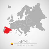 Map Of European Union With The Identication Of Spain. Map Of Spain. Political Map Of Europe In Gray  poster