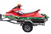 A red jetski with Christmas decorations poster