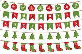 Bright Christmas Garlands. Merry Christmas Background With Xmas Bunting Flags, Balls, Christmas Tree poster