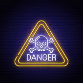 Danger Sing Neon Sign, Bright Signboard, Light Banner. Danger Logo, Emblem. Vector Illustration. poster