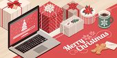 Laptop Loading Christmas App, Colorful Gifts And Decorations: Christmas Card With Wishes poster