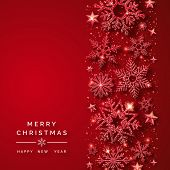 Christmas Background With Shining Red Snowflakes And Snow. Merry Christmas Card Illustration On Red  poster