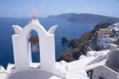 A view of Ia (or Oia), on vocanic Santorini island, Greece. One of the Mediterranean's most famous h