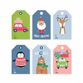 Christmas Holiday Cute Gift Tags And Labels Set. Vector Illustration poster