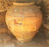 Massive Minoan storage jar, restored and on display at Phaistos archaeological site, Crete. It is al