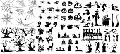Collection Of Halloween Silhouettes Icon And Character., Witch, Wizard Attributes, Creepy And Spooky poster
