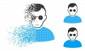 Blind Man Icon With Face In Dispersed, Dotted Halftone And Undamaged Solid Versions. Elements Are Co poster