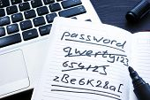 Strong And Weak Easy Password. Note Pad And Laptop. poster