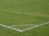 foto of football pitch  - white lines painted on a football field - JPG