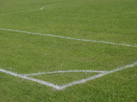 picture of football pitch  - white lines painted on a football field - JPG