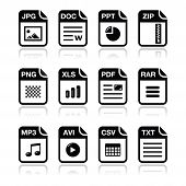 image of png  - Popular internet file types modern icons set - JPG