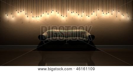 Light bulb hanging wall decoration in room with vintage floral sofa a front view row of modern display of illuminated hanging lightbulbs at various heights casting shadows on a brown wall background and reflecting off a aloadofball Gallery