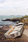 pic of scoria  - A dinghy rests on the shore of Rangitoto Island in the Hauraki Gulf of New Zealand - JPG
