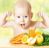 stock photo of vegetables  - Baby fresh fruit meal and juice glass - JPG