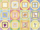 stock photo of eucharist  - a illustration of colors religion icons isolated - JPG