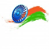 Indian Independence Day background with 3D Ashoka wheel and saffron and green colors on white backgr