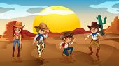 stock photo of cowgirls  - Illustration of the cowboys and a cowgirl at the desert - JPG