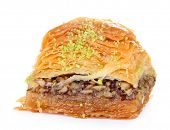 image of baklava  - Sweet baklava isolated on white - JPG