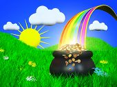 stock photo of end rainbow  - Summer landscape - JPG