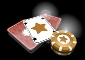 image of posh  - Pastel gray  golden shine 3d graphic with posh star sign  on poker cards - JPG