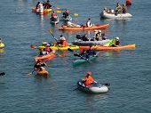 Kayakers, And Boaters Paddle In Mccovey Cove Hoping For A Homerun Ball