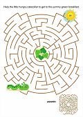 stock photo of green caterpillar  - Maze game or activity page for kids - JPG