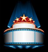 stock photo of marquee  - Illuminated cinema marquee - JPG