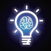stock photo of lightbulb  - Vector light bulb and brain icon  - JPG