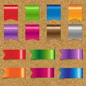 Web Color Ribbons Big Set With Cork Background