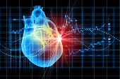 stock photo of heart surgery  - Virtual image of human heart with cardiogram - JPG