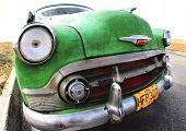 Classic Old Car Is Green Color