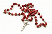 image of rosary  - Catholic rosary for pray on white background - JPG