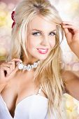 picture of chokers  - Breathtaking blond woman in classic fashion style and graceful makeup wearing chocker necklace jewelry - JPG