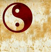 image of tai-chi  - Red Chinese Yin Yang or Tai Chi Symbol on burnt orange and white grunge background texture The symbol often used by hippies and eco warriors represens balance and harmony - JPG