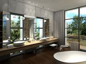 picture of exclusive  - 3d rendering of a modern luxurious bathroom - JPG
