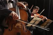 pic of orchestra  - Symphony concert a man playing the cello hand close up - JPG