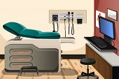 stock photo of sphygmomanometer  - A vector illustration of doctor office with copyspace - JPG