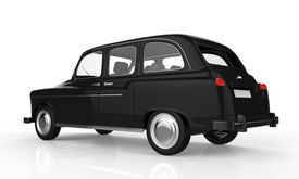 picture of hackney  - Black London Taxi isolated on white background - JPG