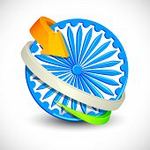 stock photo of ashoka  - vector illustration of Tricolor Arrow around Ashoka Chakra - JPG