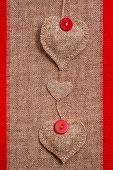 Valentine Background Hand-sewn Hearts Texstile
