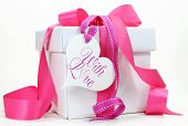 stock photo of birthday  - Beautiful pink and white gift box present for Christmas Valentine birthday wedding or mothers day special holiday and occasions - JPG