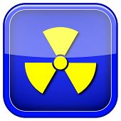 foto of radium  - Square shiny icon with yellow design on blue background - JPG