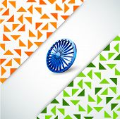 picture of ashoka  - Happy Indian Republic Day concept with national flag colors triangles and Ashoka Wheel on grey background - JPG
